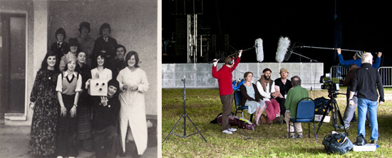 This photograph shows two film crews 30 years apart. A life in film. Left: Playing with cameras in 1975. Ciarán Walsh among a group of friends who entered 'Slogadh' (an Irish language talent competition) acting as a spoof television crew from Slógadh TV. Right. Filming an interview during Galway Arts Festival with a crew from GAF TV. Photos from Ciarán walsh, www.curator.ie.