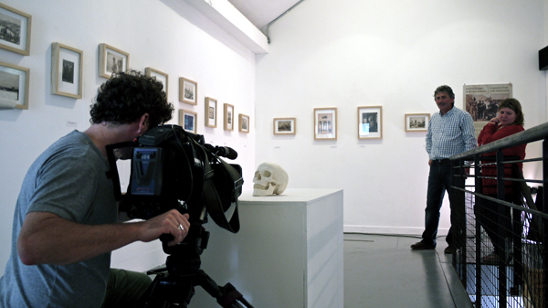 Clár Imeall TG4 filming 'The Headhunter' exhibition in Áras Éanna, Aran. 'The Headhunter' exhibition was organised and curated by Ciarán Walsh / www.curator.ie as part of an Education and Outreach project funded by the Heritage Council of Ireland, 2012 with funding from the OPW.