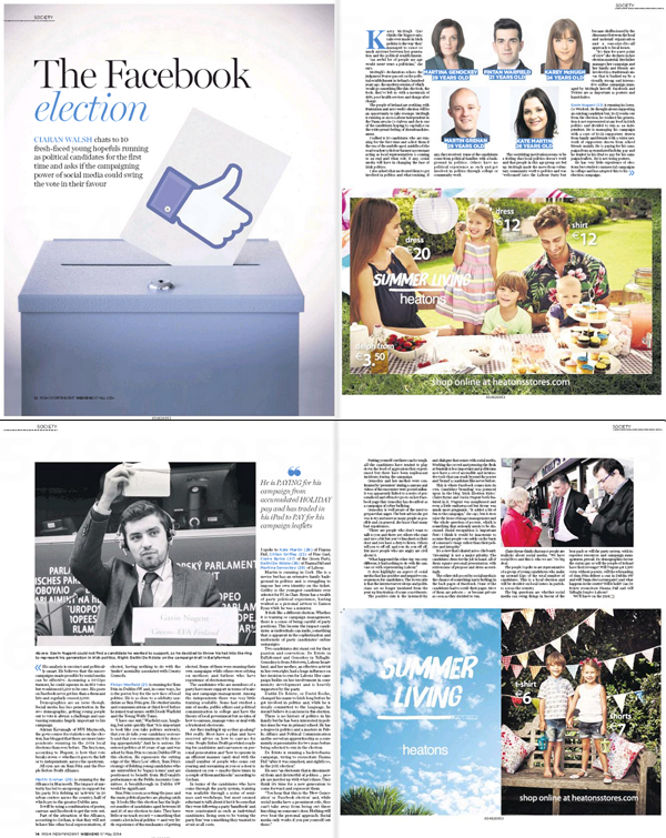Jpeg of a major feature by Ciarán Walsh on local elections 2014 in Ireland is published in the Irish Independent Weekend Magazine edited by Katie Byrne. The looks at young candidates who are competing in the elections for he first time and questions whether this is a response to widespread disenchantment with the political establishment and, whether a new generation of politically smart young people can challenge the status quo through the use of social media and other techniques. The article is based on ten interviews carried out 2 weeks prior to the election and published the weekend before voting takes place.A major feature by Ciarán Walsh on local elections 2014 in Ireland is published in the Irish Independent Weekend Magazine edited by Katie Byrne. The looks at young candidates who are competing in the elections for he first time and questions whether this is a response to widespread disenchantment with the political establishment and, whether a new generation of politically smart young people can challenge the status quo through the use of social media and other techniques. The article is based on ten interviews carried out 2 weeks prior to the election and published the weekend before voting takes place.