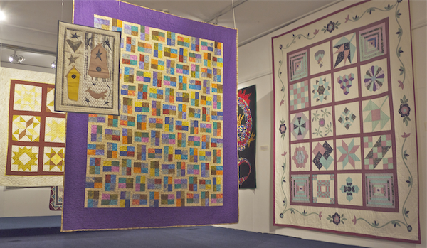 This photograph shows a general shot of the Ciar Quilters annual show in Kerry County Museum. Tralee. The exhibition was hung by Ciarán Walsh of curator.ie for Culture Night 2015