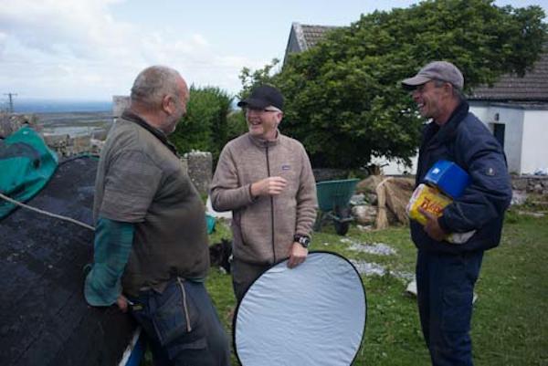 Peadar Mór, Ciarán Walsh and Muiris Ó Conghaille taking a break during filming on Inis Meáin, 2014.