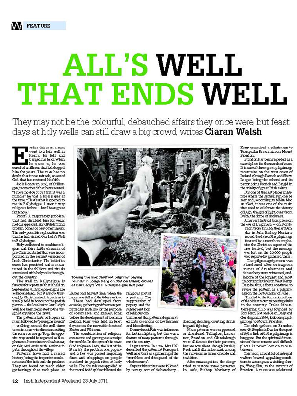 Ciarán Walsh, irish Independent Article, All's Well That End Well, Sat 18.07.2011