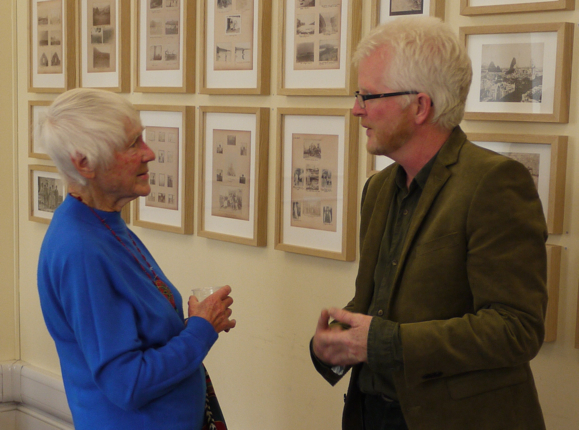 Margaret Rishbeth, granddaughter of Alfred Cort Haddon, and Ciarán Walsh of www.curator.ie at the opening of the 'Headhunter' exhibition in the Haddon Library, Univesity of Cambridge. The photographs show pages from the albums of Charles R. Browne, Alfred Cort Haddon's assistant in the Ethnographic Survey of Ireland. The exhibition was curated by Ciarán Walsh.