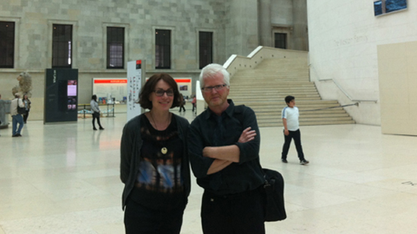 Photograph show Jocelyne Dudding, Museum of Archaeology and Anthropology, Cambridge and Ciarán Walsh, www.curator.ie, posing for a photograph in the foyer of the British Museum in London. They were participating in a conference organised by the Royal Anthropological Institute and the British Museum on the links between Anthropology and Photography.