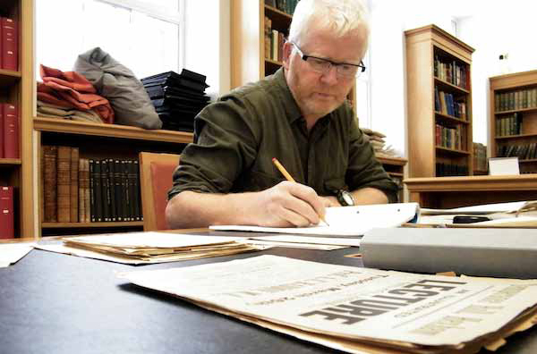 Ciarán Walsh of www.curator.ie at work on 'Haddon in Ireland' in Cambridge University Library.