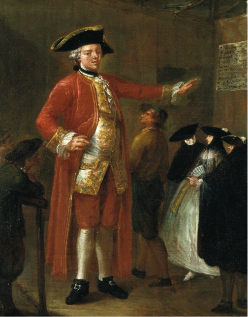A reproduction of the portrait of the Irish Giant, Cornelius Magrath. The portrait was painted in Venice in 1757 by the Italian artist Pietro Longhi, when Magrath was 20 years of age. It shows Magrath being viewed by a group of Venetians in carnival bauta costumes, one of whom is wearing a mask called a larva. A man walks under Migrates outstretched arm.He is much taller than any one else in the room and, yet, Margate towers over him. Magarth died three years later and his body was sold to the School of Anatomy in Dublin University, Trinity College. It was dissected and the articulated skeleton remains as part of an historic collection of anatomy specimens, which is currently being curated by Ciarán Walsh of curator.ie.